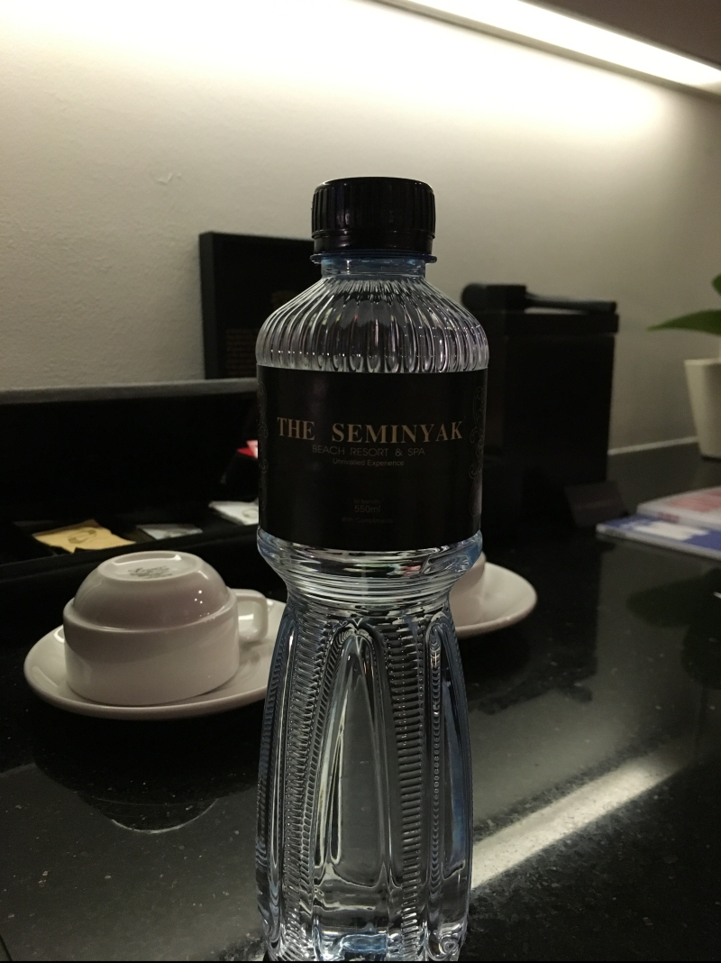 Seminyak beach resort and spa complimentary water bottle
