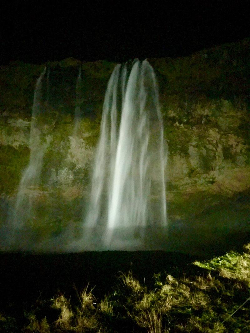 seljalandsfoss waterfall at night