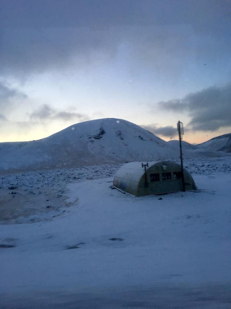 snowy mountain at sunrise
