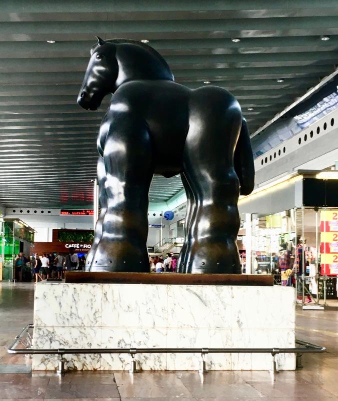 Barcelona airport horse
