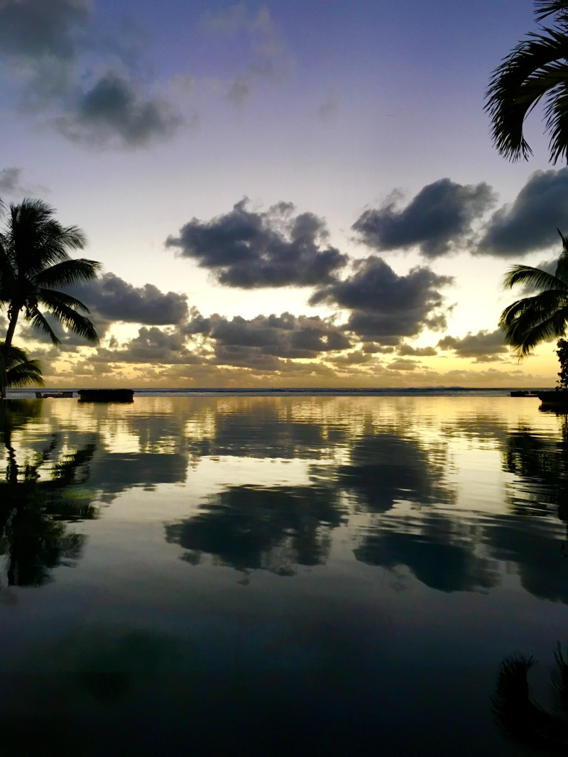 sunset at lux le morne, mauritius,