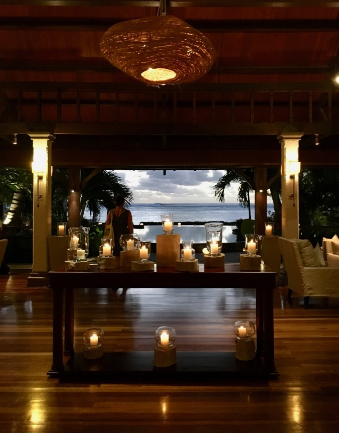 reception at sunset at lux le morne, mauritius,