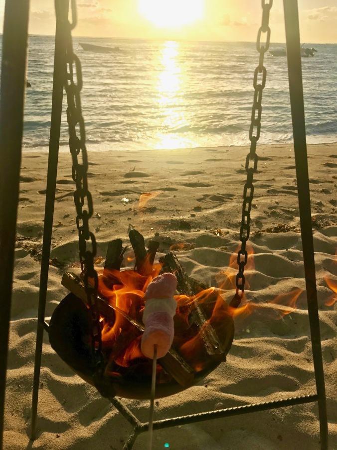 roasting marshmallows, lux le morne, mauritius
