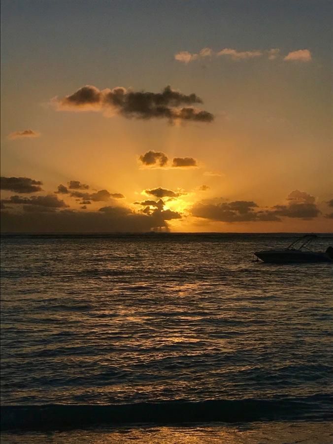sunset, lux le morne, mauritius