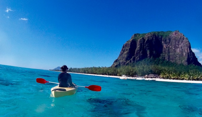 kayaking, lux le morne, mauritius