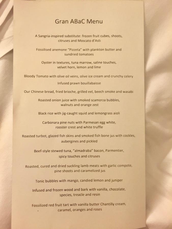 menu at ABaC, Barcelona